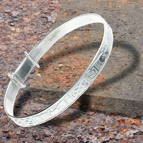 Personalised Claddagh Silver Expander Baby Bangle