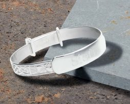 Personalised Claddagh Silver Baby Bangle