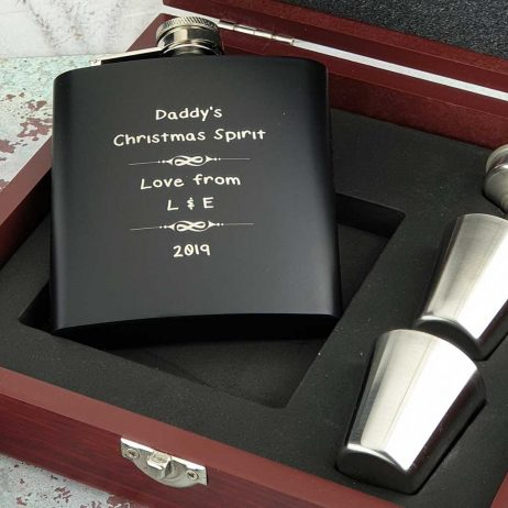 Personalised Christmas Hip Flask Set