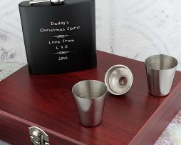 Personalised Christmas Hip Flask Set