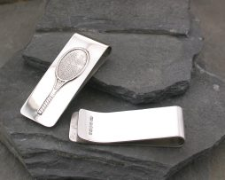 Tennis Racquet Silver Money Clip